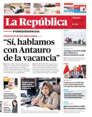Edición Impresa - La Republica   Lima - Sabado 24 de Octubre del 2020