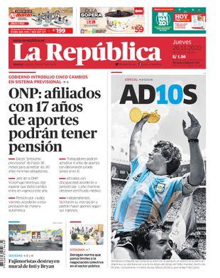 Edición Impresa - La Republica | Lima - Jueves 26 de Noviembre del 2020