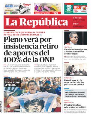 Edición Impresa - La Republica   Lima - Viernes 27 de Noviembre del 2020