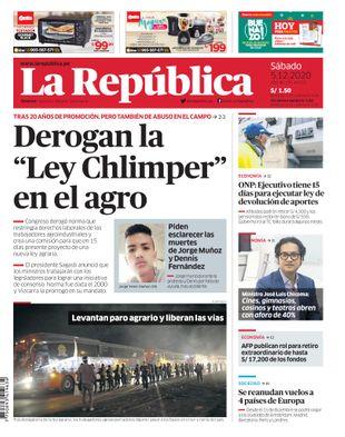 Edición Impresa - La Republica | Lima - Sabado 05 de Diciembre del 2020
