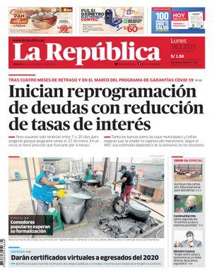 Edición Impresa - La Republica | Lima - Lunes 18 de Enero del 2021