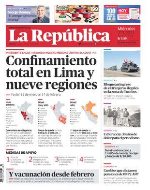 Edición Impresa - La Republica   Lima - Miercoles 27 de Enero del 2021