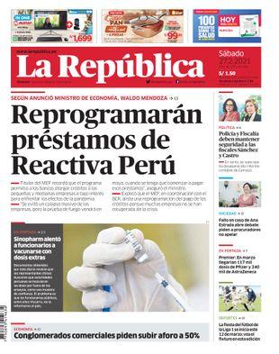 Edición Impresa - La Republica   Lima - Sabado 27 de Febrero del 2021