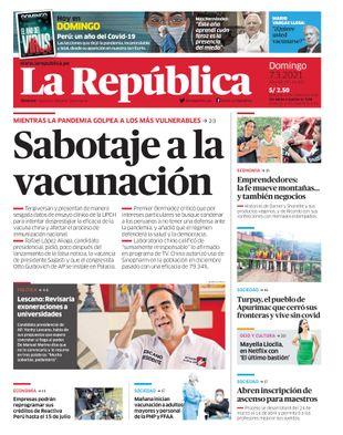 Edición Impresa - La Republica | Lima - Domingo 07 de Marzo del 2021