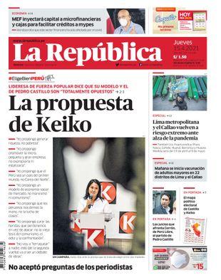 Edición Impresa - La Republica | Lima - Jueves 15 de Abril del 2021