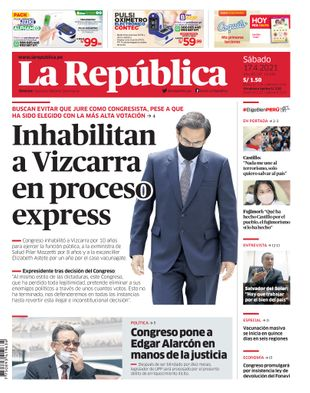 Edición Impresa - La Republica   Lima - Sabado 17 de Abril del 2021
