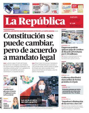 Edición Impresa - La Republica   Lima - Jueves 22 de Abril del 2021
