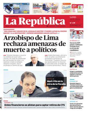 Edición Impresa - La Republica | Lima - Lunes 10 de Mayo del 2021