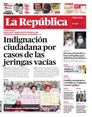 Edición Impresa - La Republica   Lima - Miercoles 12 de Mayo del 2021