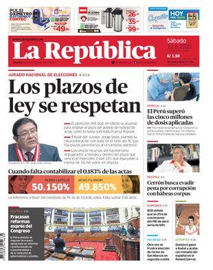Edición Impresa - La Republica   Lima - Sabado 12 de Junio del 2021
