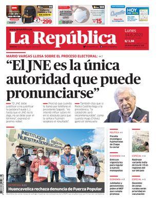 Edición Impresa - La Republica   Lima - Lunes 14 de Junio del 2021