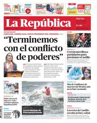 Edición Impresa - La Republica   Lima - Martes 27 de Julio del 2021