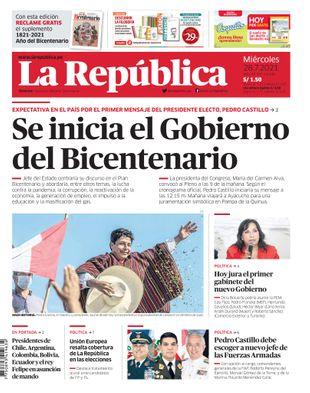 Edición Impresa - La Republica   Lima - Miercoles 28 de Julio del 2021