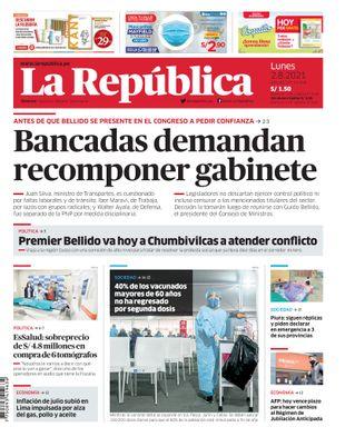 Edición Impresa - La Republica | Lima - Lunes 02 de Agosto del 2021