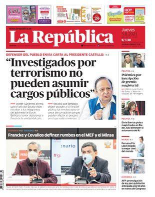 Edición Impresa - La Republica   Lima - Jueves 05 de Agosto del 2021