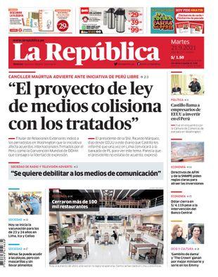 Edición Impresa - La Republica   Lima - Martes 21 de Setiembre del 2021