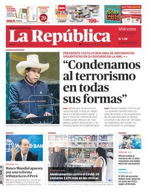 Edición Impresa - La Republica | Lima - Miercoles 22 de Setiembre del 2021