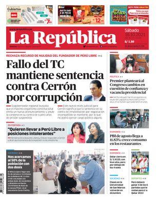 Edición Impresa - La Republica | Lima - Sabado 16 de Octubre del 2021